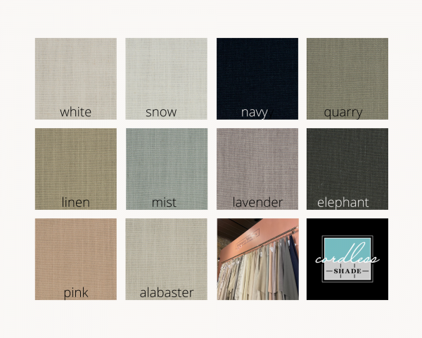 poly linen fabric options for Roman shades at Impressive Windows and Interiors Hastings MN